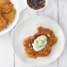 Sweet Potato Latkes, 2 Ways