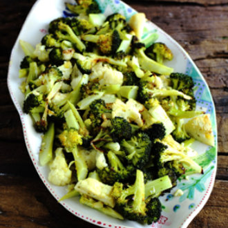 Roasted Broccoli and Cauliflower with Lemon and Ginger